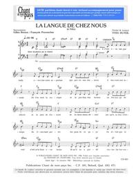 SATB choral _ La Langue de chez nous