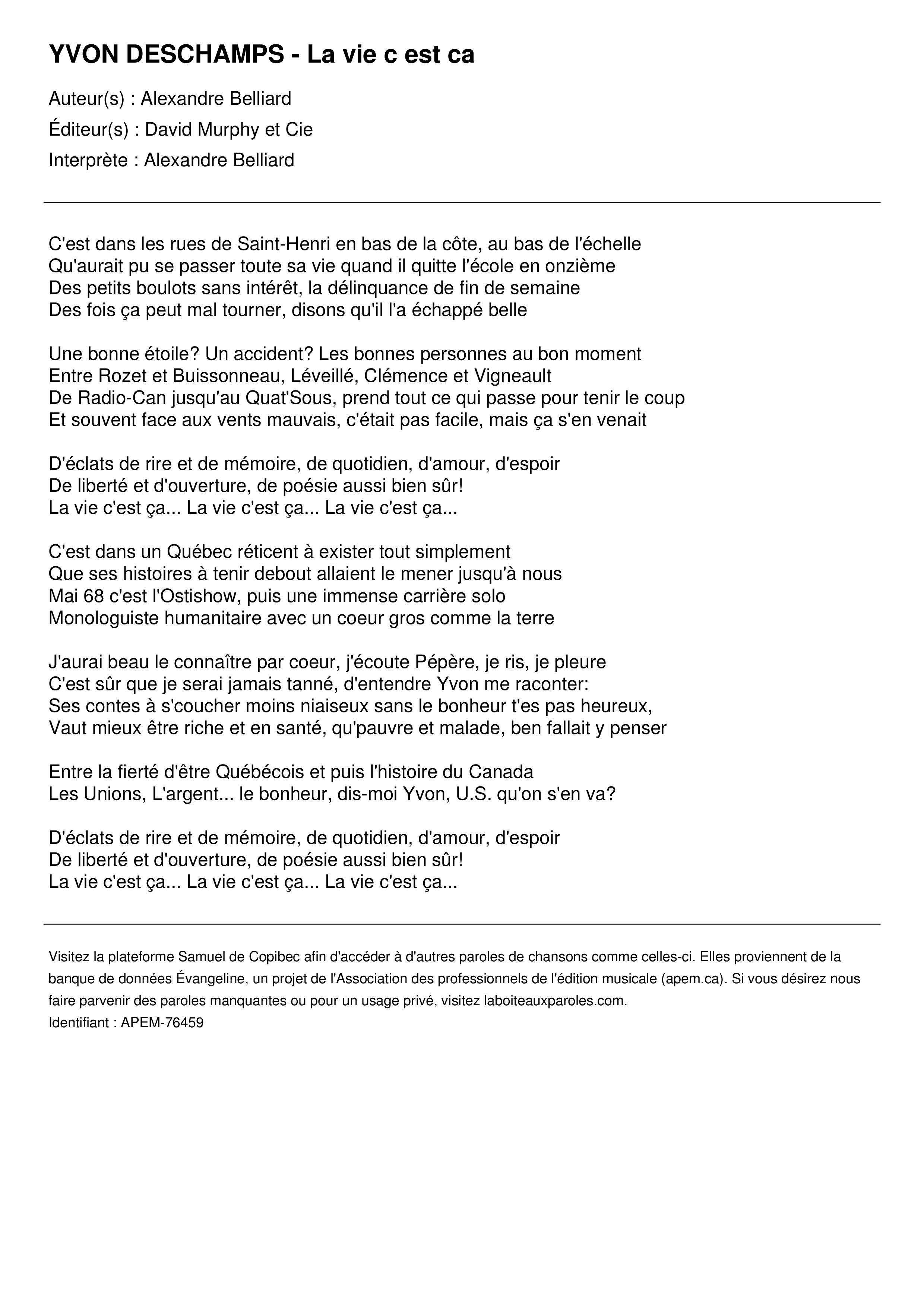 YVON DESCHAMPS - La vie c est ca