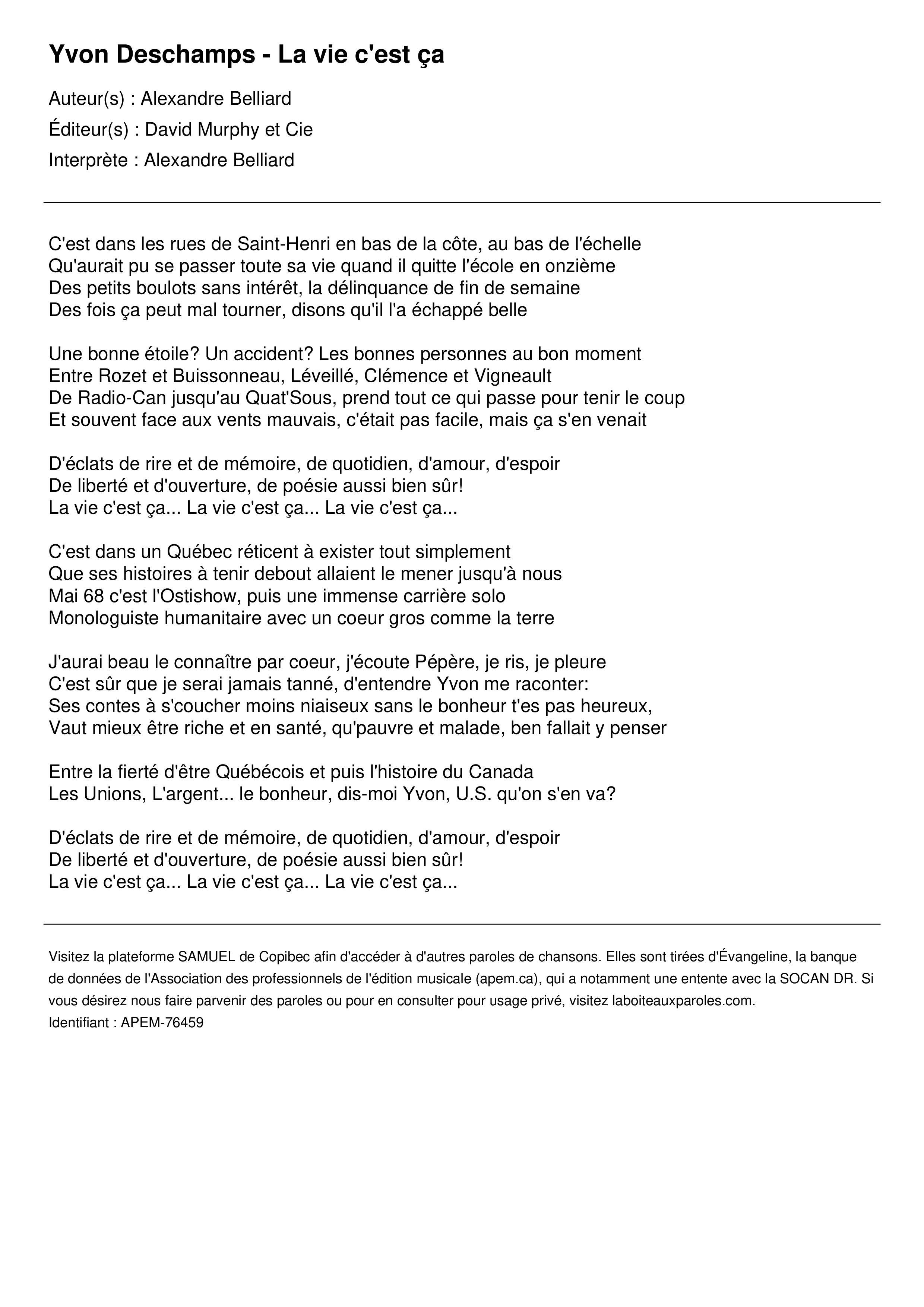 Yvon Deschamps - La vie c'est ça