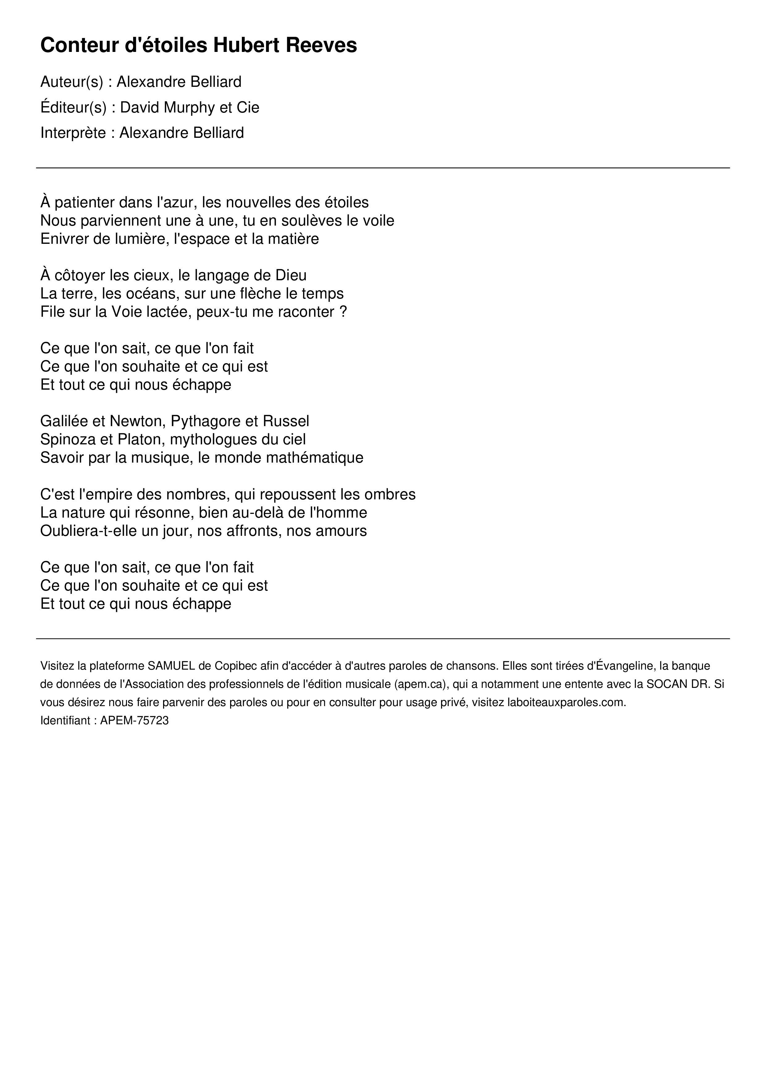 Conteur d'étoiles Hubert Reeves
