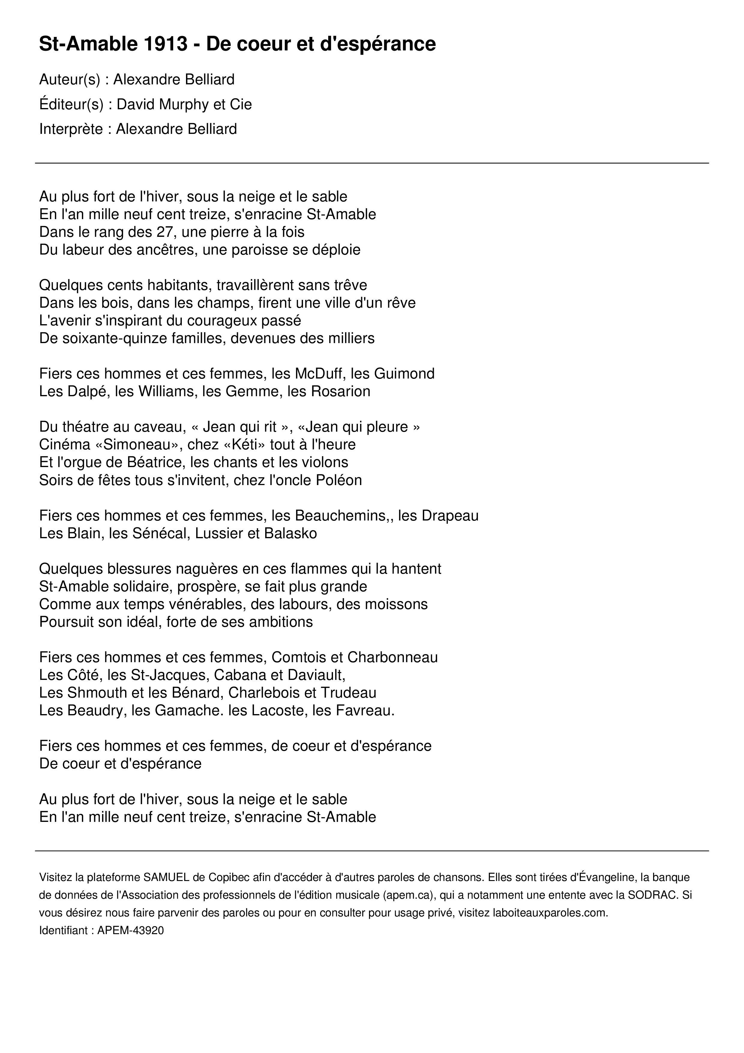 St-Amable 1913 - De coeur et d'espérance
