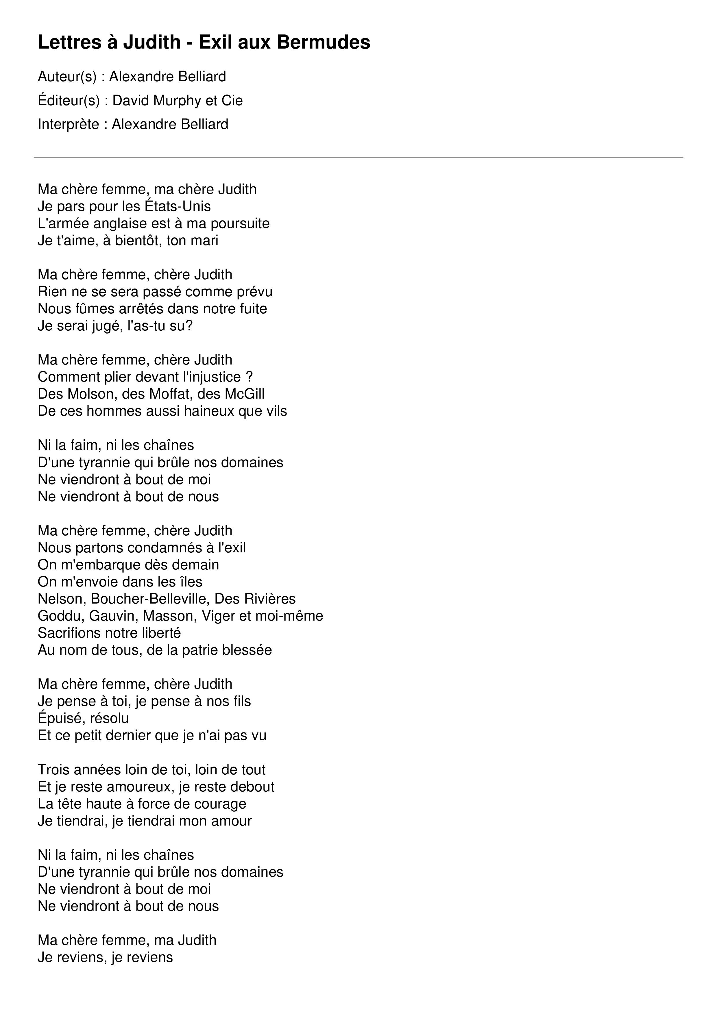 Lettres à Judith - Exil aux Bermudes