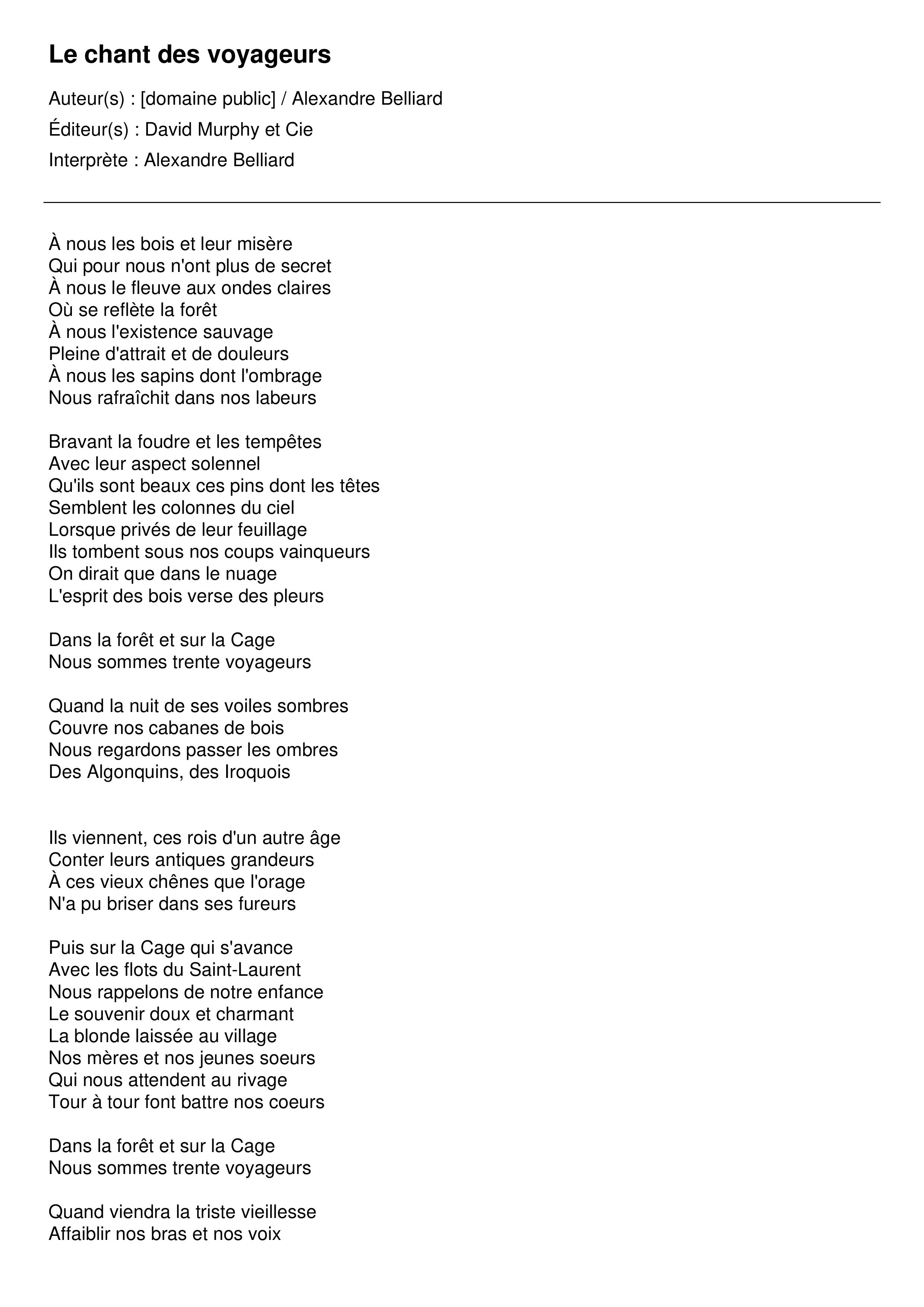 Le chant des voyageurs