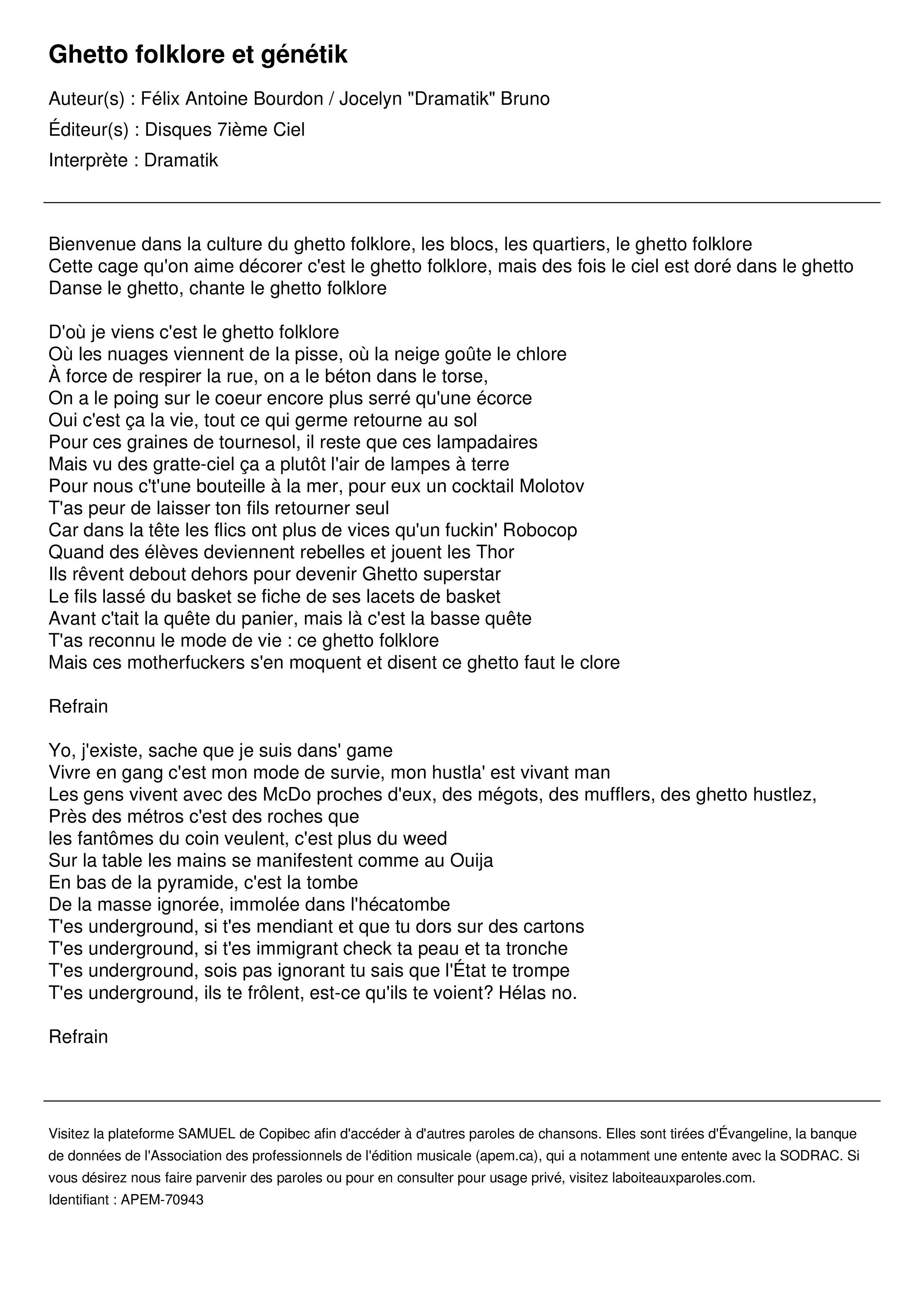 Ghetto folklore et génétik